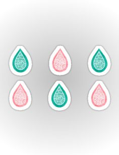 """Turquoise blue and coral pink raindrops"" Stickers by Savousepate on Redbubble #stickers #stationery #homedecor #pattern #abstract #watercolor #pastel #white #pink #coral #peach #blue #green #turquoise #aqua"