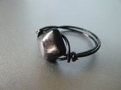 Hypersthene Ring  Wrapped with Black Wire  Made to by JbellsGems, $8.00
