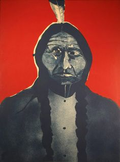 """Fritz Scholder,Portrait of an American #2 - state 2, 1973, 22""""x30"""""""