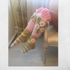Pink Floral socks Knitted Tigh High Knee womens socks | Etsy Fair Isle Knitting, Knitting Socks, Hand Knitting, Floral Socks, Pink Socks, So Much Love, Tejido Fair Isle, Hand Crochet, Knit Crochet