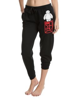 <p>On a scale of one to ten, these joggers are a solid 10 for comfort! Let Baymax take a break from being your personal healthcare companion and let him snuggle in as your personal comfort companion when you wear these joggers from Disney's Big Hero 6. They feature a Baymax image and logo on the left leg and an elastic drawstring waist. </p>  <ul> 	<li>60% cotton; 40% polyester</li> 	<li>Wash cold; dry low</li> 	<li>Imported</li> 	<li>Listed in junior sizes</li> </ul>