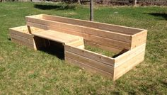bench built in raised bed garden | Raised Garden Bed kits with a bench.