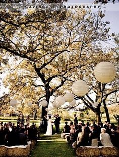 ♥ this .. Make the most of nature, by seating your guests under a beautiful tree like this one, with several large white lanterns hung from it's branches.