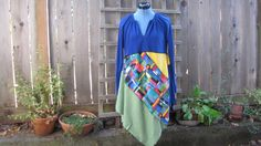 Funky Artsy Asymmetrical Tunic Dress/ Upcycled Lagenlook Eco Dress/ Hi Lo Womens Dress S/M by FuriousDesigns on Etsy