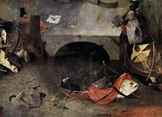 The fish-boat demon. Triptych of Temptation of St Anthony (detail) Hieronymus Bosch, 1505 Museu Nacional de Arte Antiga, Lisbon, Portugal Painting, Oil on panel