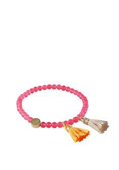 Dyrberg Kern Tatun Small Elasticated Bracelet, Pink Bangles, Beaded Bracelets, Plastic Beads, Festival Fashion, Accessories Shop, Fashion Inspiration, Pink, Color, Shopping