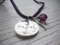 Angel sterling silver handstamped necklace on by Lolasjewels, $17.00