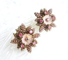 REDUCED Vintage pink Earrings flowers with by popgoesmyvintage, $25.00
