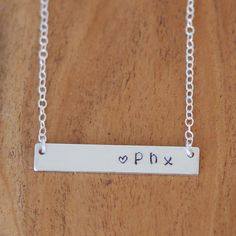 Custom City Necklace, Phoenix Necklace, Horizontal Bar Necklace, Hand Stamped PHX Necklace, Love Phoenix Necklace, City Necklace #phx #beyoujewelry