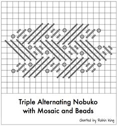 triple nobuko with beads & mosaic needlepoint stitch