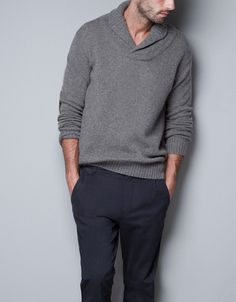 TUXEDO COLLAR SWEATER - Man - New this week - ZARA United States