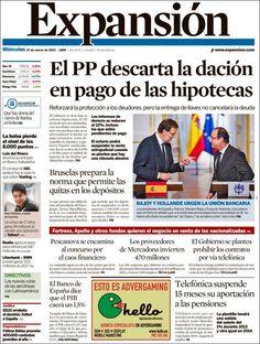 Los Titulares y Portadas de Noticias Destacadas Españolas del 27 de Marzo de 2013 del Diario Expansión ¿Que le parecio esta Portada de este Diario Español?