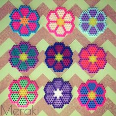 Flowers perler beads by merakihc