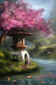WOW! Enchanting Oriental Pagoda Under The Cherry Blossoms And Wooden Bridge ~ Isn't This Romantic?