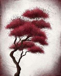 Bonsai Tree Art Dark Red Wall Decor 8 x 10 by NaturesHeavenlyArt