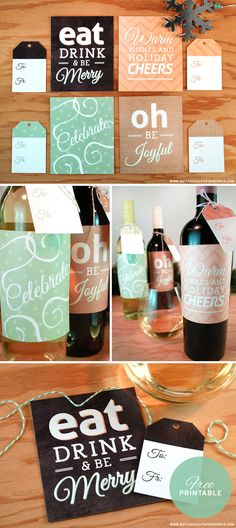 We're loving these free printable Holiday Bottle Labels and Matching Gift Tags - they're stylish and festive and perfect for a holiday party or hostess gift.