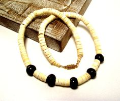 Men's Beaded Necklace Featuring White Puka Shells Accented with Chocolate Brown Horn Beads by DesignedByAudrey, $21.00