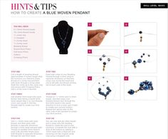 Free jewellery making tutorial on how to create a beautiful blue woven pendant with these easy steps...