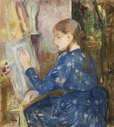 Berthe Morisot - Jeune Fille Écrivant, 1891, oil on canvas