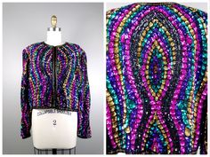 Candy Land Sequined Blazer / Bright Retro Square Sequin Embellished Jacket XL by braxae on Etsy