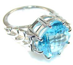 $52.95 Delicate! Swiss Blue Topaz Quartz Sterling Silver Ring s. 8 at www.SilverRushStyle.com #ring #handmade #jewelry #silver #swissbluetopazquartz