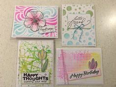 Stencil backgrounds - cards with Jane