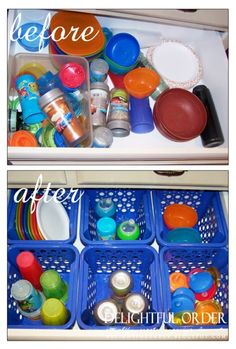 If you are a mom or a grandma, you likely have many sippy cups and lids in your kitchen. The problem comes when you can't find the right lid for the sippy cup in your hand. Some inexpensive plastic baskets from the dollar store can help. - 150 Dollar Store Organizing Ideas and Projects for the Entire Home