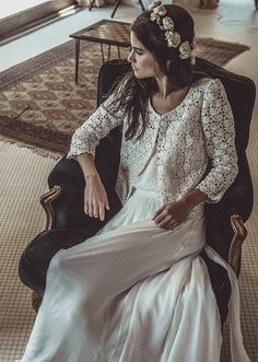 Laurent Nivalle - La mariee aux pieds nus - Laure de Sagazan - Robes de mariee - Collection 2015 - Robe Guitry - Veste Tarantino - Couronne Dumas | la mariee aux pieds nus