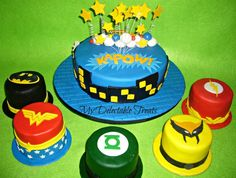 Conner said this is his favorite birthday cake . Superhero Baby Shower, Superhero Cake, Superhero Birthday Party, Boy Birthday, Birthday Ideas, Wonder Woman Cake, Wonder Woman Party, Combined Birthday Parties, 2nd Birthday Parties