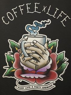 Tattoo idea, the hands with the coffee cup coming out of a flower.