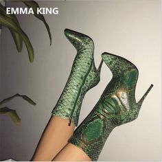 2019 Autumn Green Snake Ankle Boots For Women Sexy Pointy Toe Ladies High Heels Pumps Winter Boots Fashion Party Shoes Woman Platform High Heels, High Heels Stilettos, High Heel Boots, Heeled Boots, Stiletto Heels, Boot Heels, High Socks, Mode Shoes, Women's Shoes