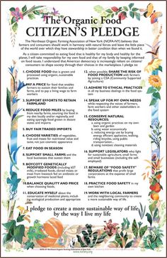 Citizen's Pledge for Sustainable Eating, Living an for a sustainable planet
