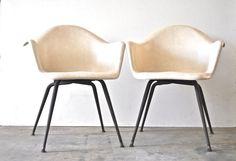 Mid Century Fiberglass Arm Chairs  Herman Miller by charliesnest