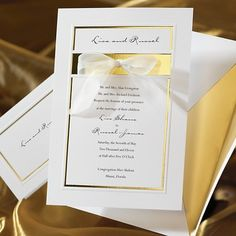 The Simplicity Wedding Invitation is a classic and simple wedding invitation.  Add a touch of elegance with a pre-tied stick on organza bow.
