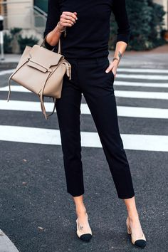 Woman Wearing Black Sweater Black Cropped Work Pants Chanel Slingbacks Celine Mi…, You can collect images you discovered organize them, add your own ideas to your collections and share with other people. Black Pants Outfit, Black Cropped Pants, Work Fashion, Fashion Outfits, Girly Outfits, Cute Outfits, Travel Outfits, Fashion 2017, Outfits