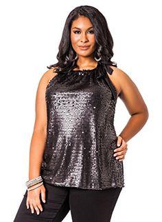Ashley Stewart Womens Plus Size Sequin Halter Top