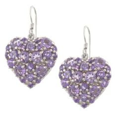Sterling Silver Amethyst Heart Drop Earrings Amazon Curated Collection. $94.99. Made in Thailand