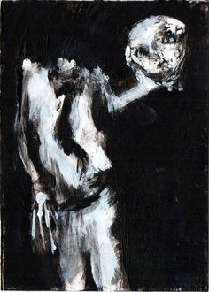 """DETACHED""     Acrylic original  ,ACEO  jack larson 3.5""x2.5"" #Abstract"