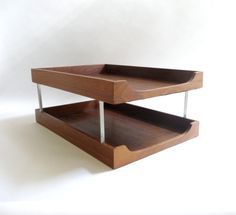 Mid Century Modern Wood and Metal Letter Tray