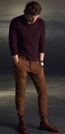 men's camel pants and burgundy sweater tucked into boots