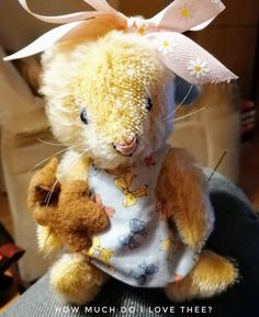 How sweet is this adorable Easter bunny made by talented doll artist Betti Kogler. This bunny is made of heirloom quality mohair, has imported glass eyes has fully jointed limbs and head for posing, and carries a little teddy. Why not contact Betti (bettisstitches@gmail.com) to receive your very own bunny to treasure or make your own using the Matilda pattern as Betti did from sotreasured.com! Hugs & love, Jean xo Elephant Pattern, Cat Pattern, Pattern Design, Free Pattern, Clothing Patterns, Sewing Patterns, Bunny Rabbit, Matilda, Easter Bunny