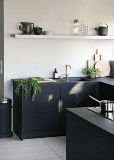 Smart black modern kitchen