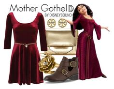 """Mother Gothel"" by leslieakay ❤ liked on Polyvore featuring Louise et Cie, Pilot, Allurez, Easy Street, Karen Millen, Tory Burch, disney, disneybound and disneycharacter"
