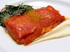 Richard Blais, Mark Simmons, and Andrew D'Ambrosi's Poached Salmon with Faux Caviar, Parsnip Puree, and Watercress Salad