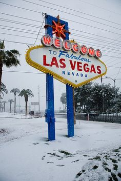 Snowy Welcome to Fabulous Las Vegas Sign