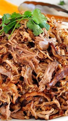 Carnitas (Mexican Slow Cooker Pulled Pork) The best of the best of Mexican food, seasoned pork is slow cooked until tender before gently teasing apart with forks and pan frying to golden, crispy perfection. Slow Cooker Recipes, Crockpot Recipes, Cooking Recipes, Freezer Recipes, Cooking Games, Cooking Food, Vegan Recipes, Mexican Dishes, Mexican Food Recipes