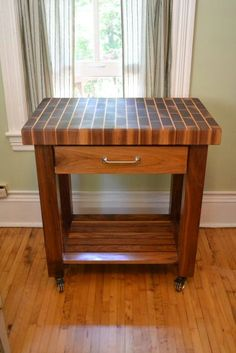 Items similar to Beautiful Signature Black Walnut End Grain Black Brick Pattern Butcher Block Kitchen Cart on Etsy