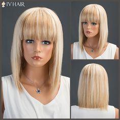 69.35$  Buy now - http://dio6m.justgood.pw/go.php?t=205686501 - Siv Neat Bang Medium Straight Human Hair Wig