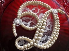 Champagne Pearls and Ivory Lace with Pearl Brooch Wedding Cake Topper Monogram Letter