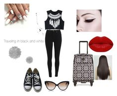 """""""Traveling in black and white"""" by xfangirllife on Polyvore featuring Vera Bradley, WithChic, Converse, Winky Lux and Cutler and Gross"""
